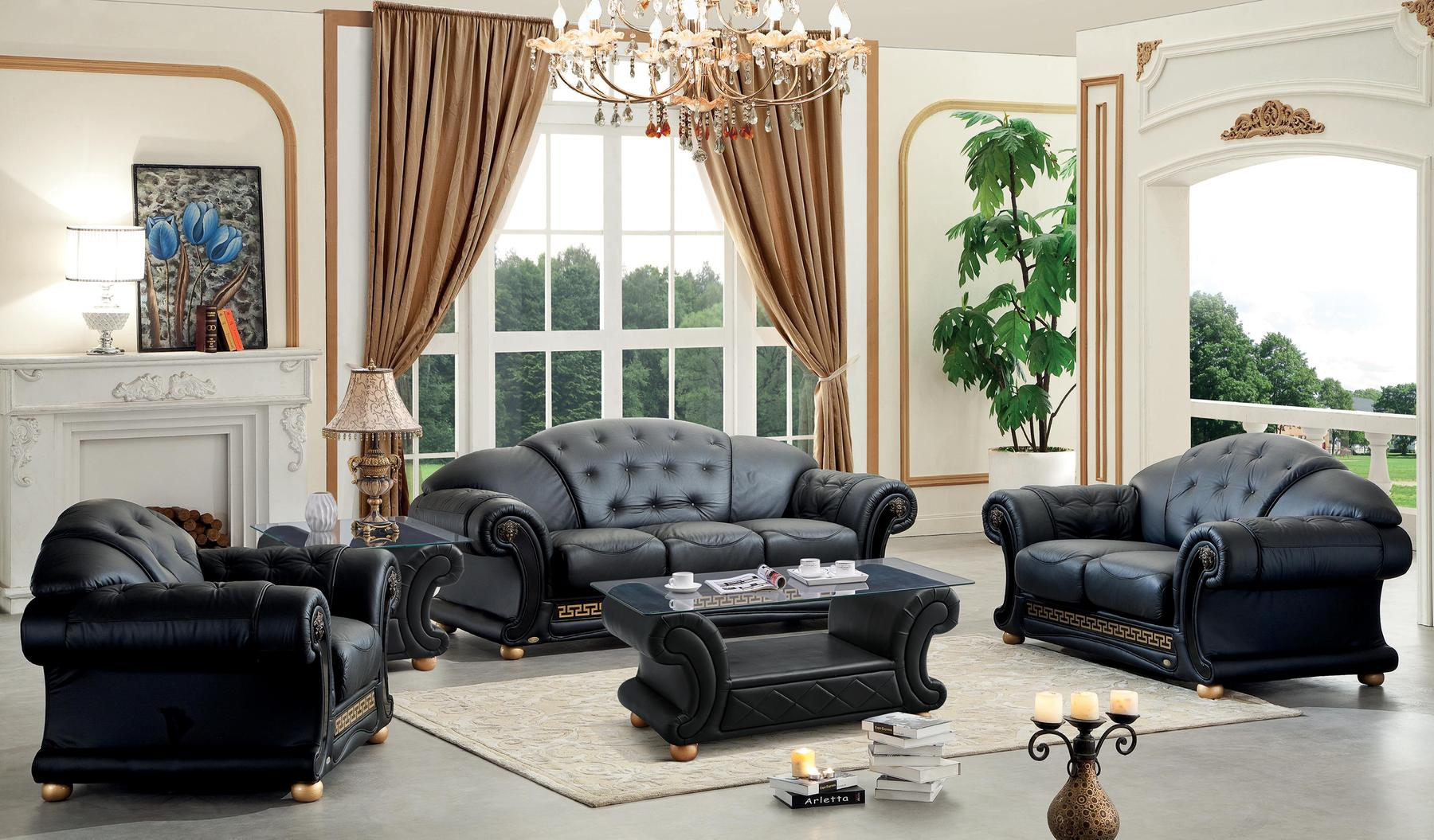 Royal classic interior design of the living room with chic curve sofa and beige curtains