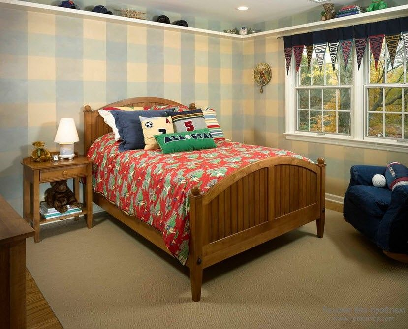 Curtains in the Interior of the Children's Room. Classic wooden bed and the checkered walls