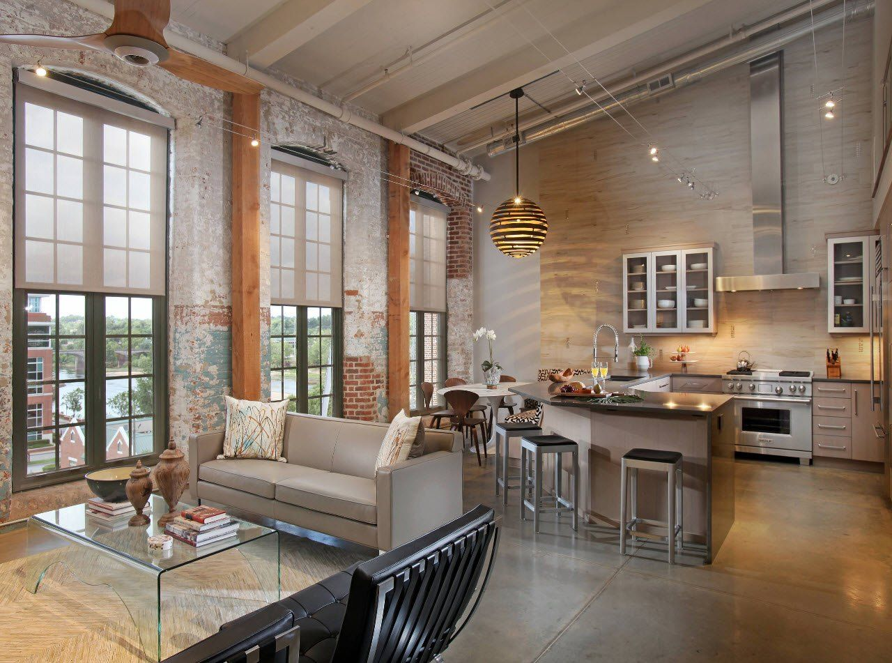 Industrial and classic style mix for the beige colored large kitchen