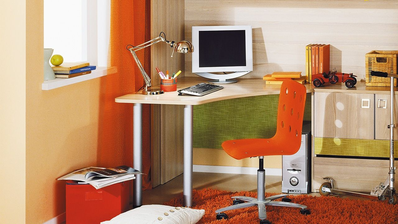 Computer Desk: Large Photo Collection of Organizing the Workspace. Colorful and joyous working corner with orange elements