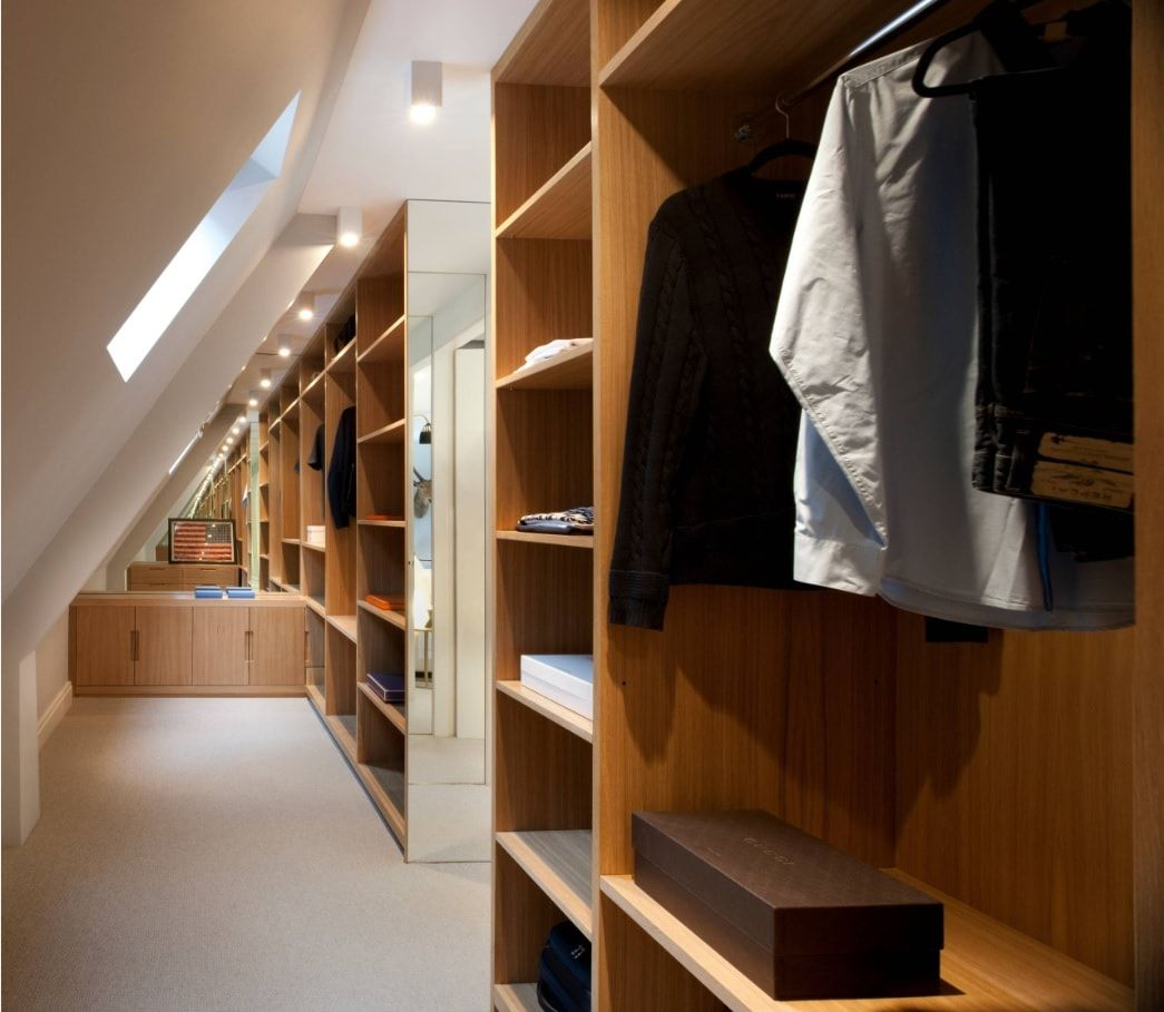 Attic Walk in Closet Ideas: Designing your Loft with Style and Functionality. Slanted ceiling in the one-sided loft closet