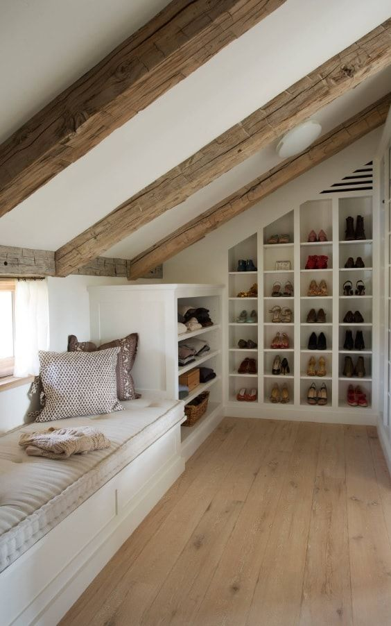 Attic Walk in Closet Ideas: Designing your Loft with Style and Functionality. Back wall shelving and the sleeper at the closet