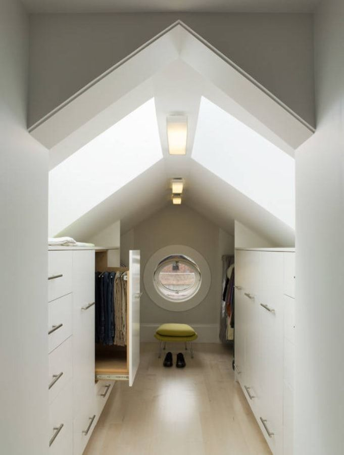 Attic Walk in Closet Ideas: Designing your Loft with Style and Functionality. Spectacular skylight for top-located closet with closed cabinets