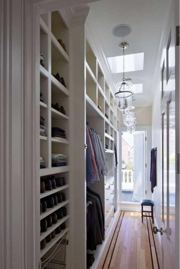 Attic Walk in Closet Ideas: Designing your Loft with Style and Functionality. Open cabinets in white color and modern style