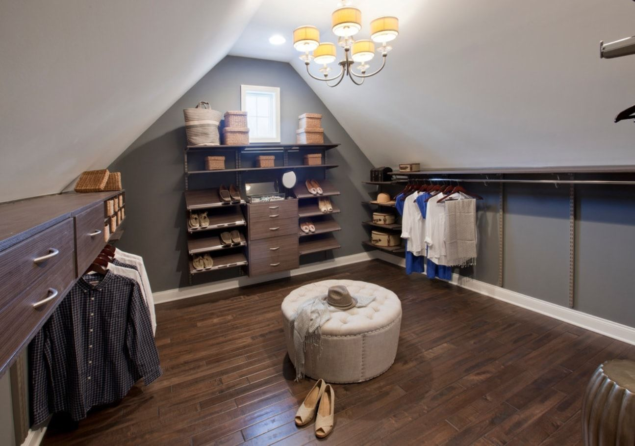 Attic Walk in Closet Ideas: Designing your Loft with Style and Functionality. Dark wooden floor and round ottoman for shoes fitting
