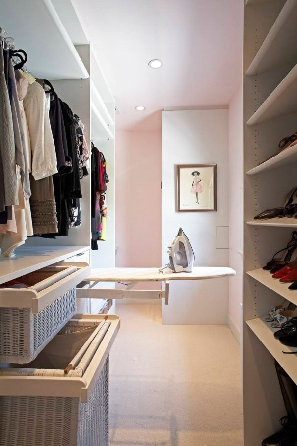 Attic Walk in Closet Ideas: Designing your Loft with Style and Functionality. Open cabinets and ironing board for modern designed room