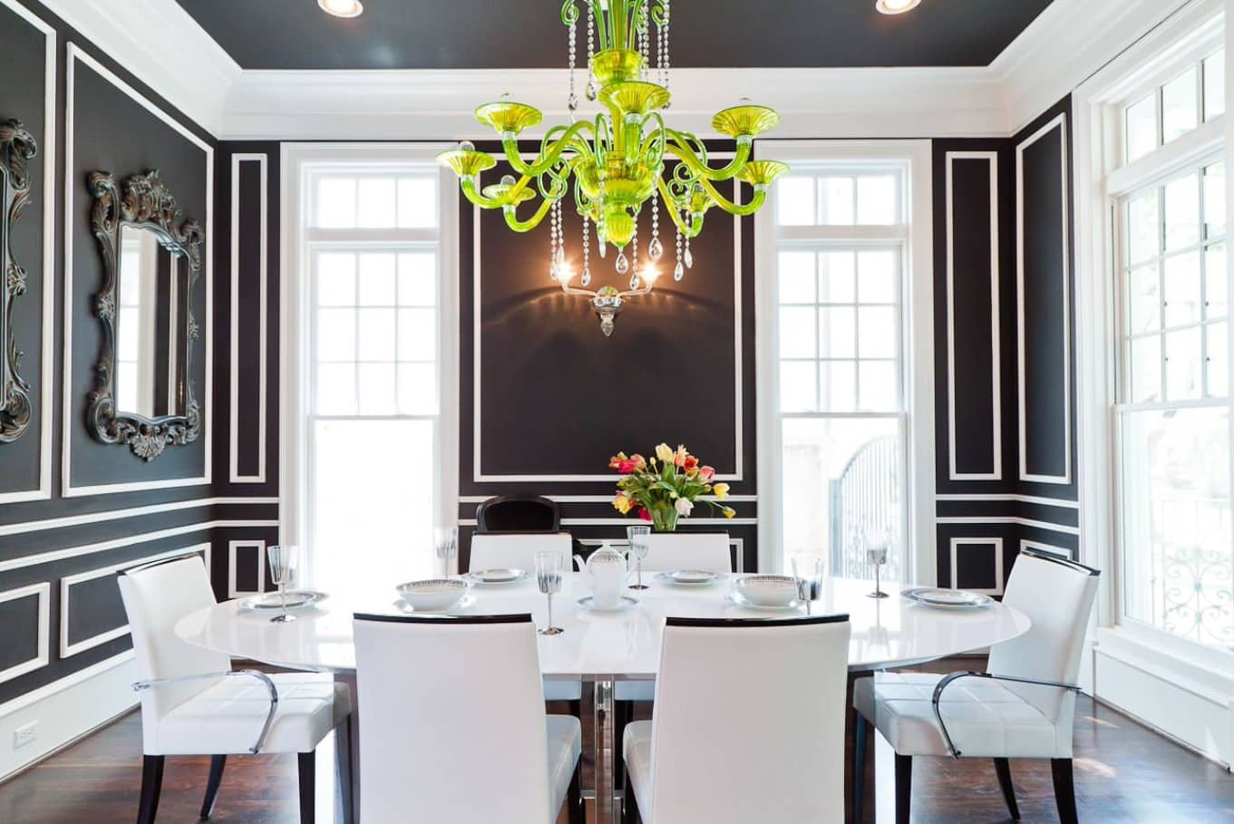 Black Dining Room Walls Effective Ideas for Authentic Interior. Unusual contrasting Classic style interpretation for large room with white chairs and green chandelier