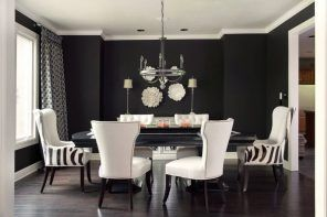 Black Dining Room Walls Effective Ideas for Authentic Interior. The accent of white ceiling against the black walls is astonishing
