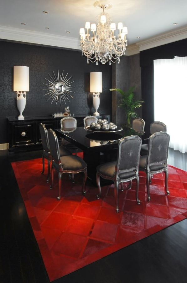 Black Dining Room Walls Effective Ideas for Authentic Interior. Daring design with the red carpet in totally black Classic room