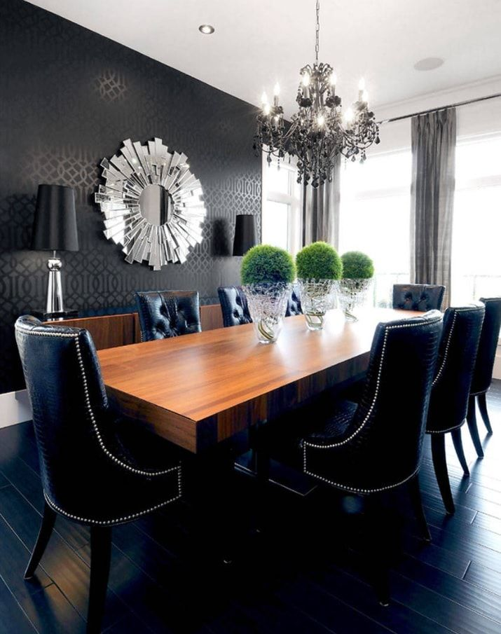 Black Dining Room Walls Effective Ideas for Authentic Interior. Dark room full of natural light and with dark velvet upholstered chairs too
