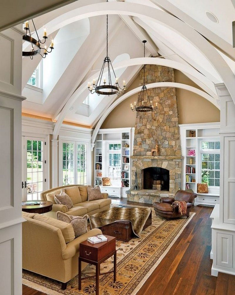 Vaulted Ceiling: Main Principles of Constructing and Finishing. Light cottage with the open strcuture of the ceiling