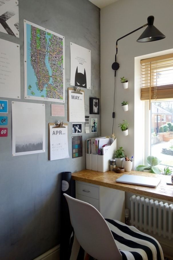 Faux Concrete Wall Paint: Modern and Original Finishing. Modern styled home office with the task wall with gray structure