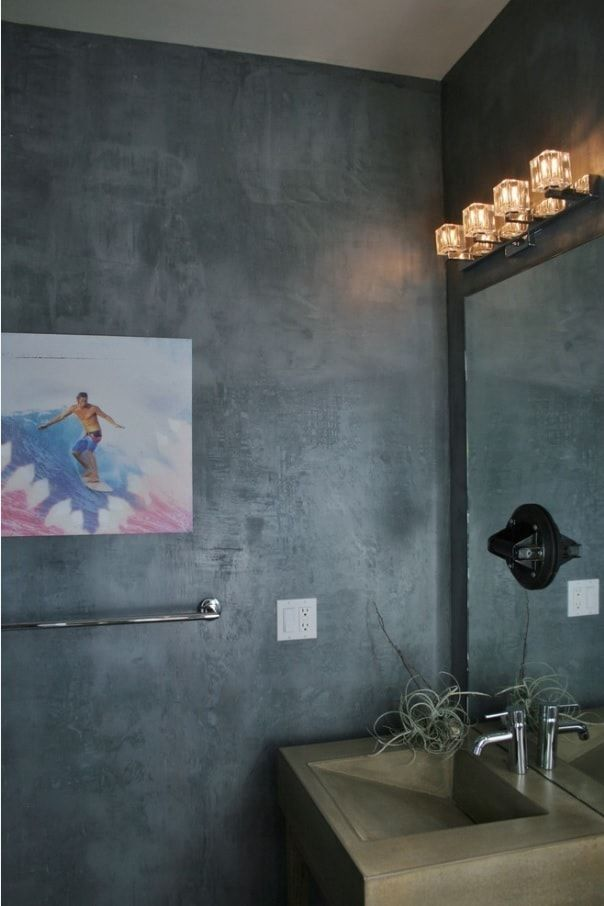 Faux Concrete Wall Paint: Modern and Original Finishing. Bathroom gray walls in the Industrial style with stage lighting