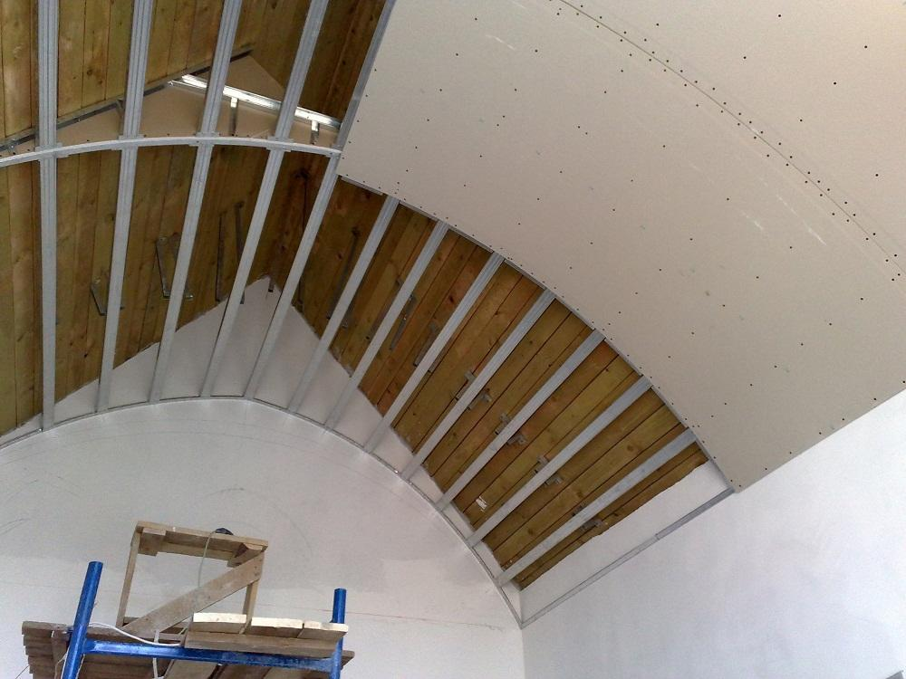 Vaulted Ceiling: Main Principles of Constructing and Finishing. Bent gypsum board on the carcass
