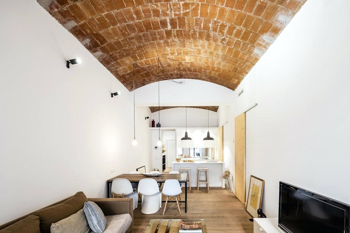 Classic living room with open brickwork ceiling