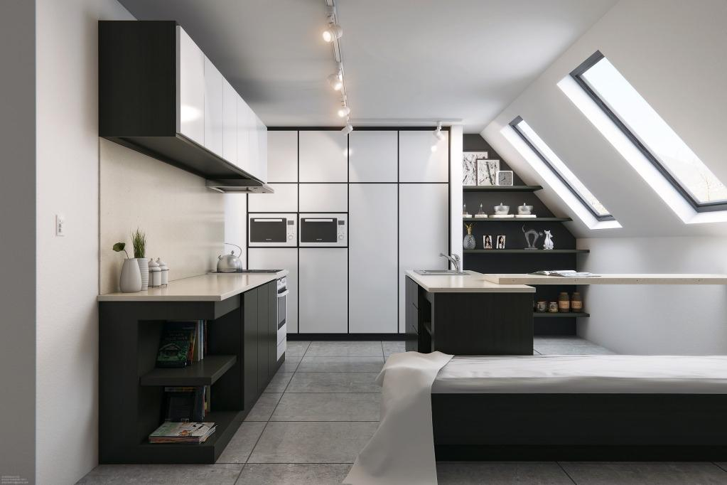 Attic kitchen in hi-tech style