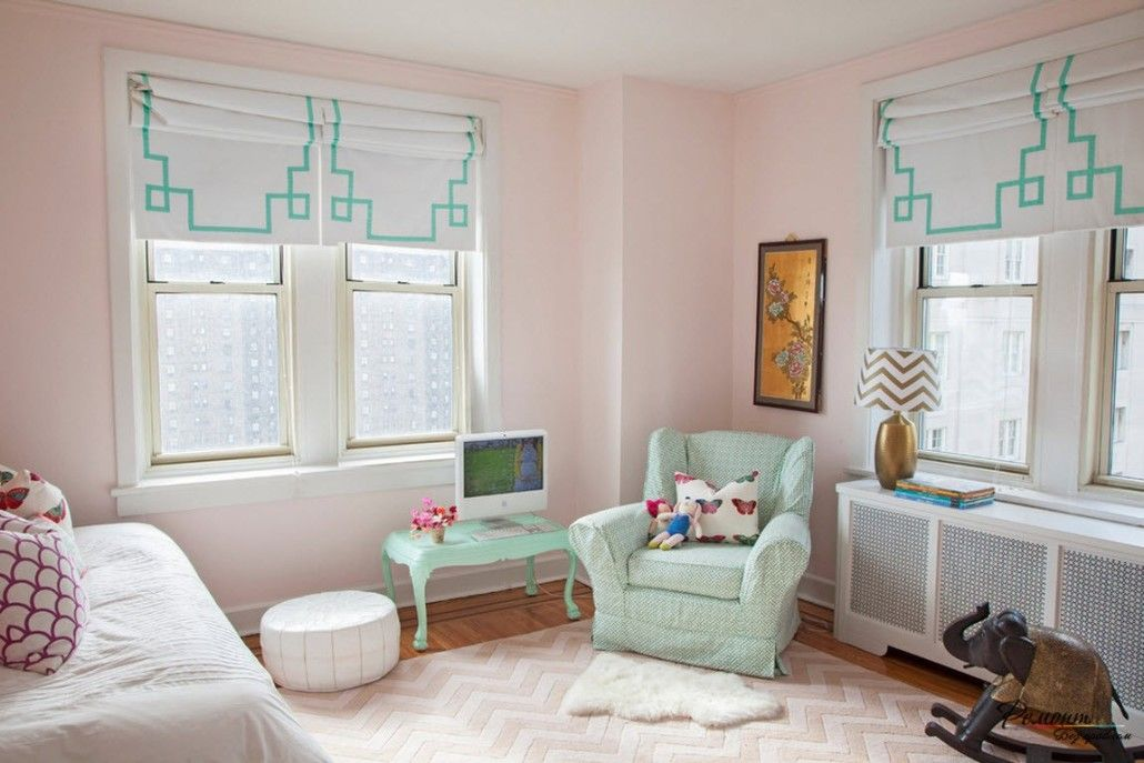 Pinky styled children's room for girl and turquoise