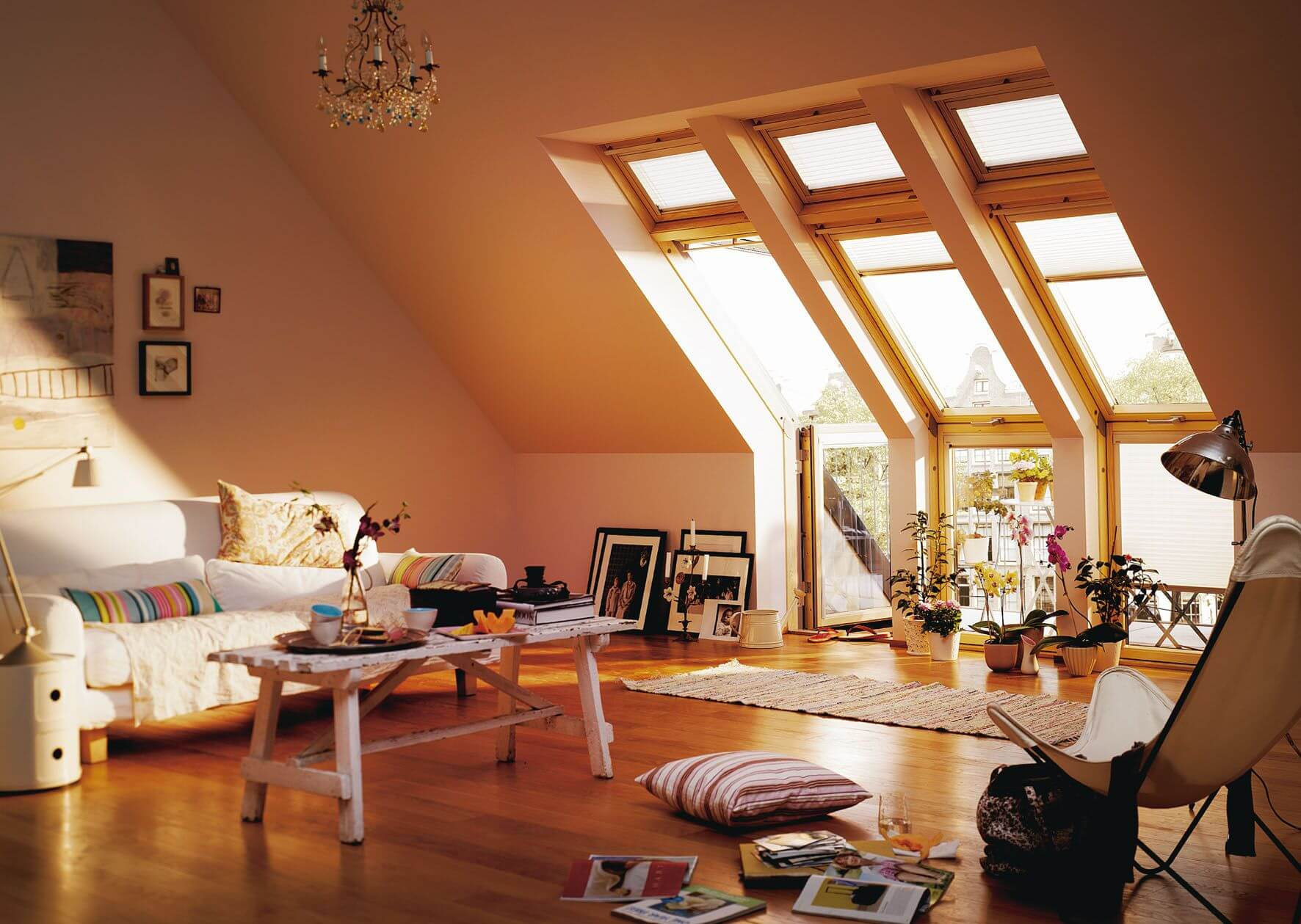Attic Room Original Finishing and Decoration Ideas with Photos. Wooden framed side skylights providing plenty of natural light