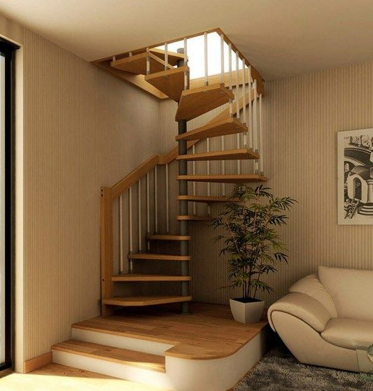 Attic Room Original Finishing and Decoration Ideas with Photos. Spiral staircase for the attic room