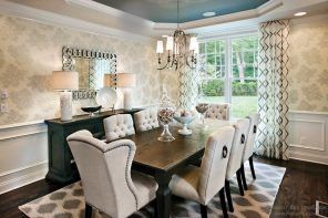 Dining Zone: Description, Arranging, Decoration Tips. Pastel colored Classic room with upholstered furniture