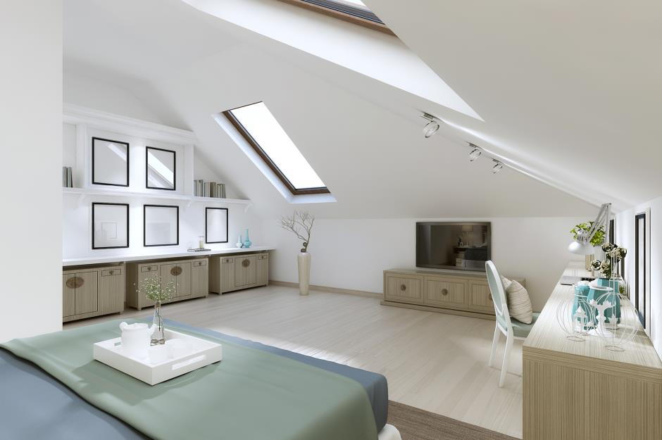 Attic Room Original Finishing and Decoration Ideas with Photos. Pictures and windows with dark frames