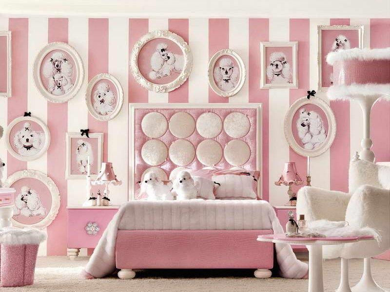 Choosing the Furniture for Children's Room: Arrangement for Boy, for Girl. Pink stripes for wholly girlish designed room