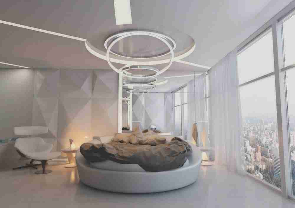 Gray Bedroom: Cozy Elegant Interior Design Ideas. Chic circle bed and hi-tech organized room