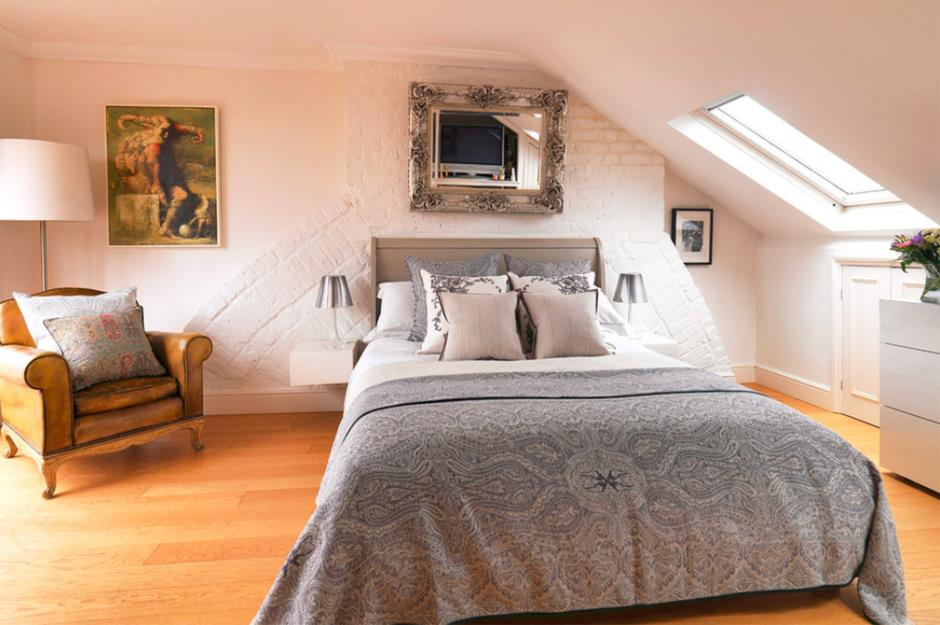 Attic Room Original Finishing and Decoration Ideas with Photos. Classic white and gray color combination for the bedroom with silver framed mirror