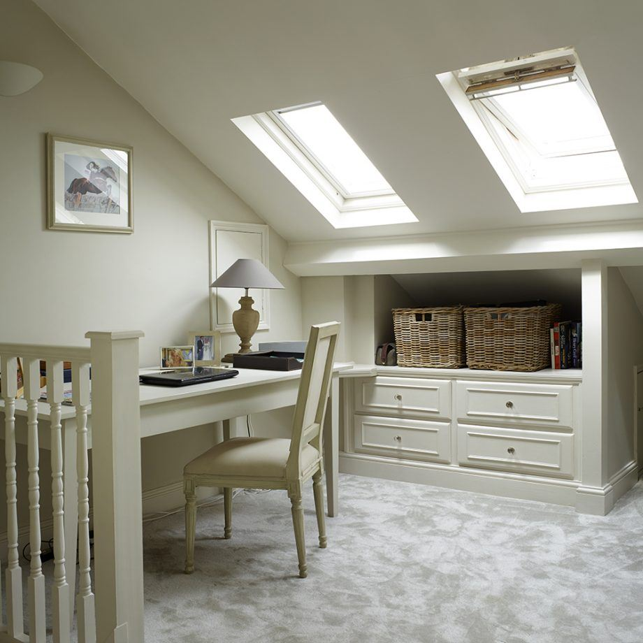 Attic Room Original Finishing and Decoration Ideas with Photos. Light gray decorated room with large windows and working table