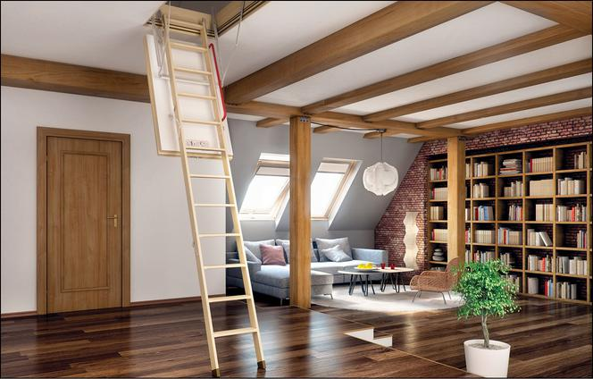 Attic Room Original Finishing and Decoration Ideas with Photos. Men's studio in oriental style with folding stairs