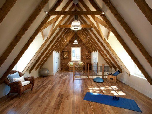 Attic Room Original Finishing and Decoration Ideas with Photos. Open rafters at the modern designed room with laminate