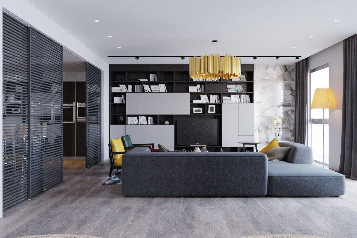 Gray color scheme in the modern Scandi designed living room with functional accent wall