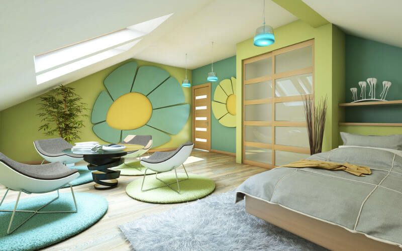 Absolutely surrealistic design of the attic room with floral theme and bright colors