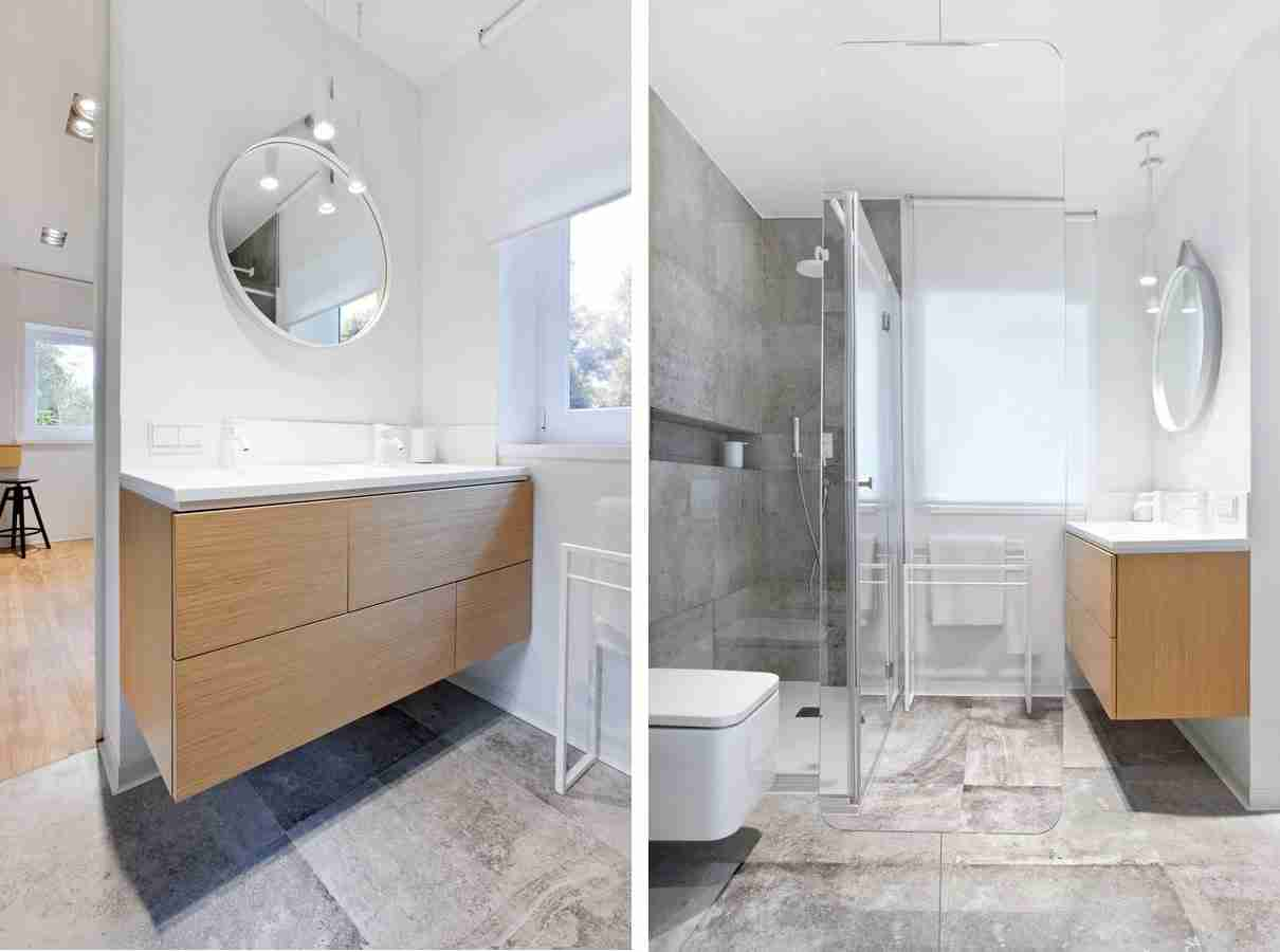 Wooden modern suspended vanity and the same constructed toilet for comfortable interior