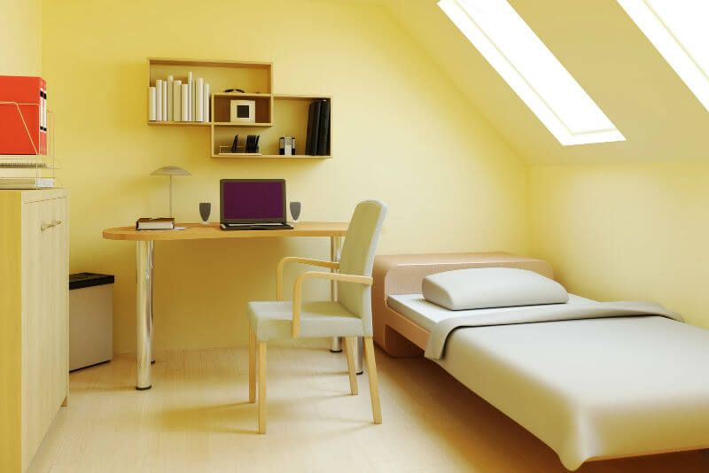Attic Room Original Finishing and Decoration Ideas with Photos. Yellow lemon colored walls for ascetic designed den room