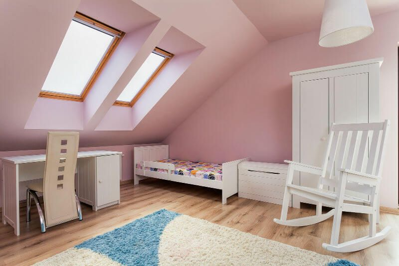 Attic Room Original Finishing and Decoration Ideas with Photos. Girlish pink interior with small bed and cabinet