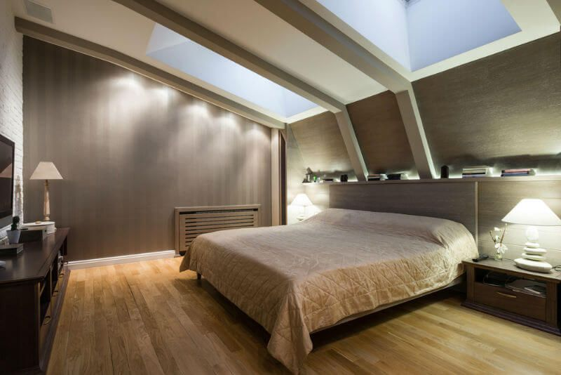 Attic Room Original Finishing and Decoration Ideas with Photos. Unusual usage of geometrical irregularities in the modern mansard bedroom