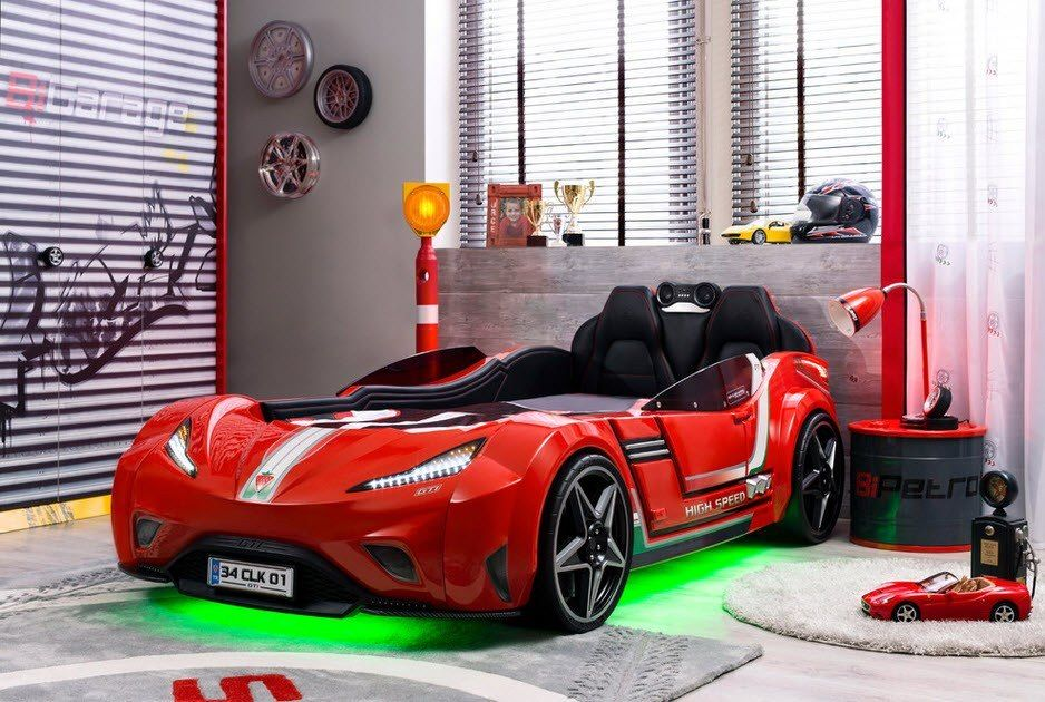Car Beds for Children's Rooms: Bright Element of Interior Design. Black bedding as the car interior