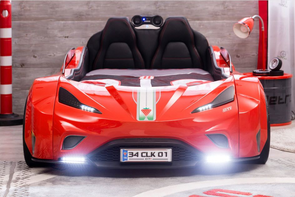 Car Beds for Children's Rooms: Bright Element of Interior Design. Sports car with head lights