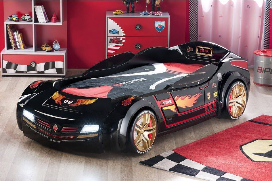 Car Beds for Children's Rooms: Bright Element of Interior Design. Black Ferrari for gorgeous decorated room