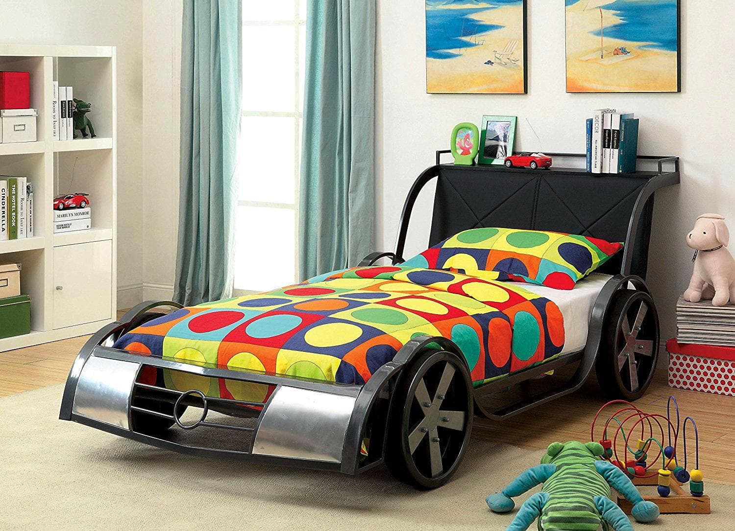 Car Beds for Children's Rooms: Bright Element of Interior Design. Multicolored coverlet