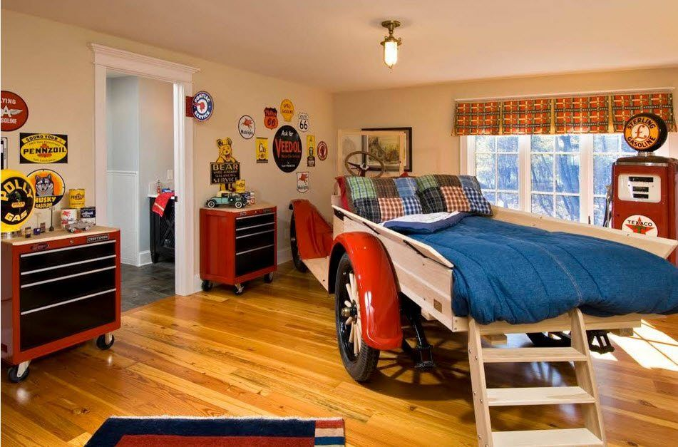 Car Beds for Children's Rooms: Bright Element of Interior Design. Truck looking bed with ladder