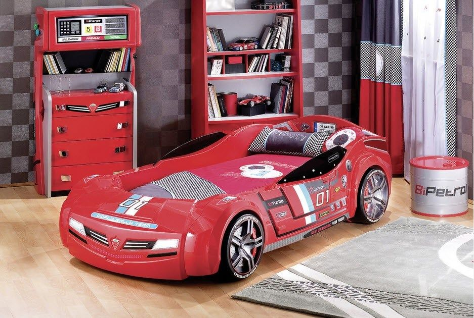 Car Beds for Children's Rooms: Bright Element of Interior Design. Red cabinets for tight room