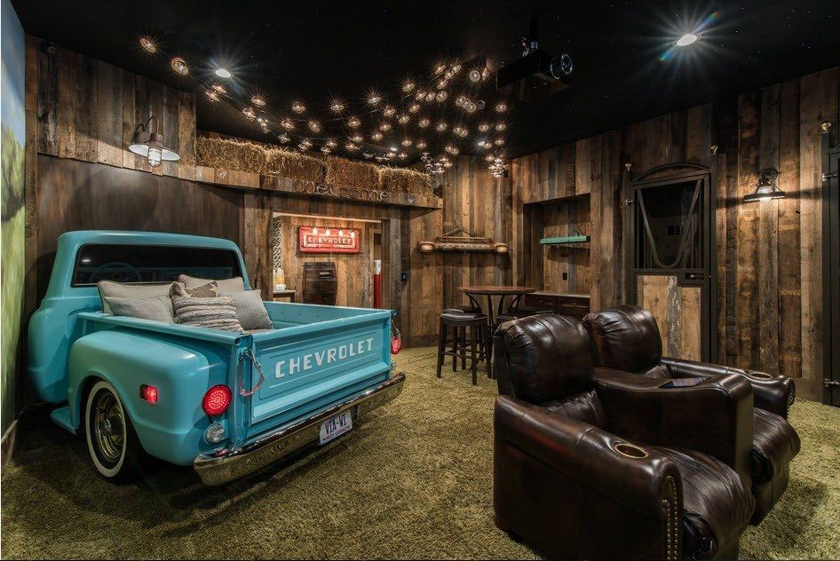 Car Beds for Children's Rooms: Bright Element of Interior Design. Unusual dark interior for the home theater