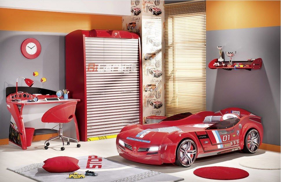 Car Beds for Children's Rooms: Bright Element of Interior Design. Red car and red elements of decor