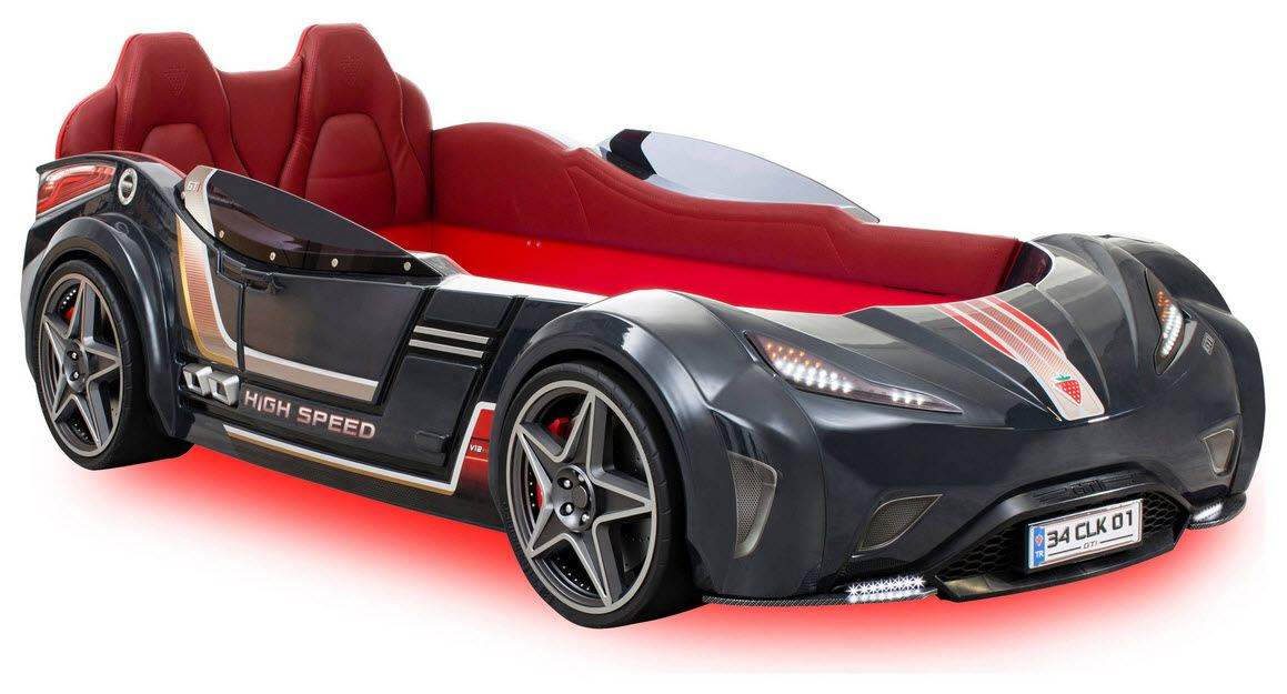 Car Beds for Children's Rooms: Bright Element of Interior Design. The car with doors and backlight