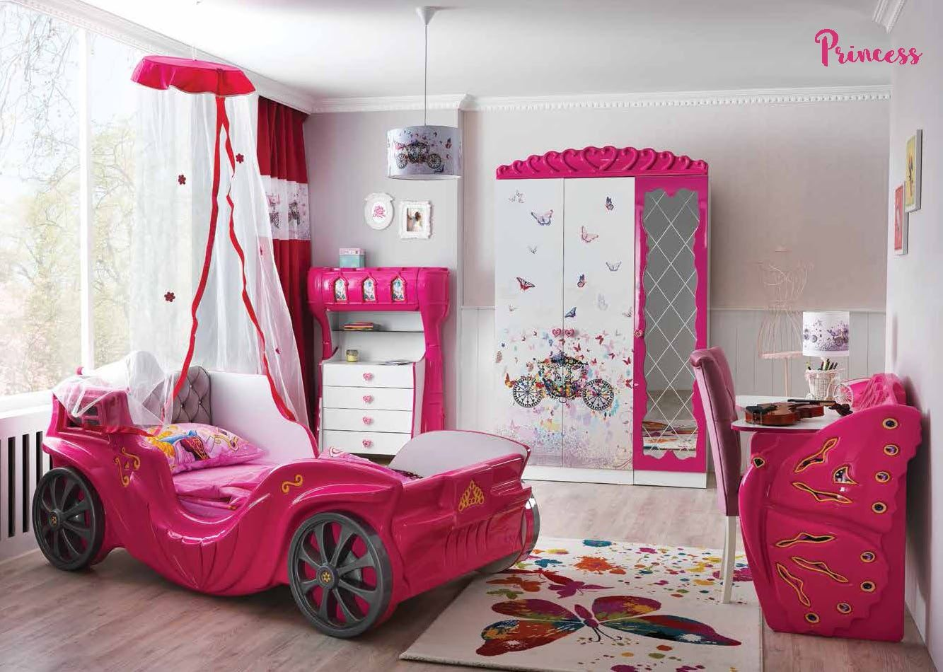 Car Beds for Children's Rooms: Bright Element of Interior Design. White designed room with crimson accents and coach imitating car with canopy