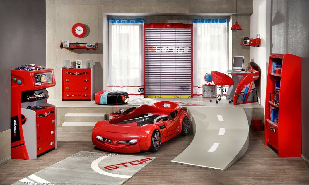 Couple of levels in the chidlren's room with car bed imitating race track
