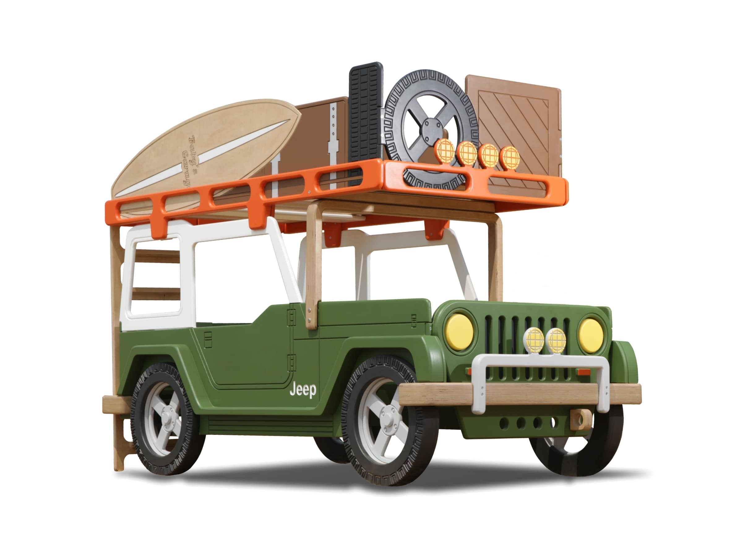 Bunk bed in the form of the Jeep with the top trunk