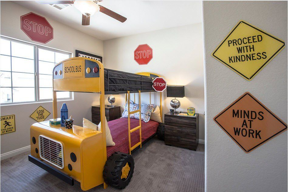 Car Beds for Children's Rooms: Bright Element of Interior Design. Yellow school bus